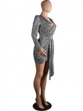 Euro Deep V Leopard Long Sleeve Bodycon Dress