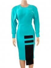 Euro Contrast Color Long Sleeve Midi Dress