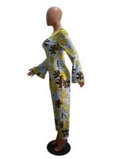 Color Block Flower Printing Long Sleeve Jumpsuit