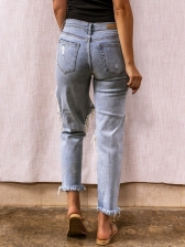 Vintage Holes Ripped Jeans For Women