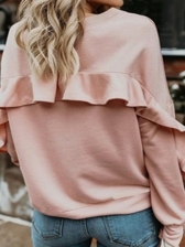Simple Pure Color Long Sleeve Sweatshirts For Women