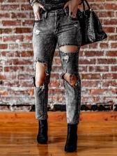 Retro Holes Women Slim Fit Jeans