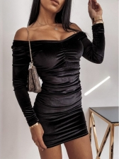 Fashion Ruched Female Solid Long Sleeve Bodycon Dress