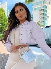 Single-Breasted Solid Long Sleeve Denim Jacket
