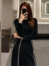 Crew Neck Contrast Tipping Long Sleeve Dress