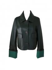Vintage PU Contrast Color Long Sleeve Jacket