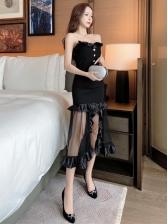 Fashion Gauze Patchwork Ruffled Strapless Midi Dress