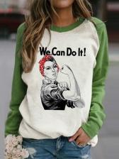 Contrast Color Printed Women Pullover Sweatshirt