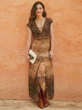 Deep V Neck Slim Printed Vintage Maxi Dress