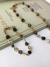 Faux-Agate Retro Patchwork Necklace Bracelet