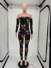 Off Shoulder Print Long Sleeve Jumpsuit