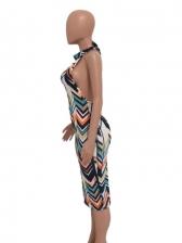 Sexy Colorful Print Halter Dress