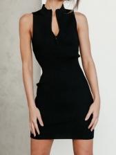 Sexy Black Zipper Sleeveless Dress