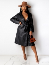 Fashion Solid Pu Trench Long Coat