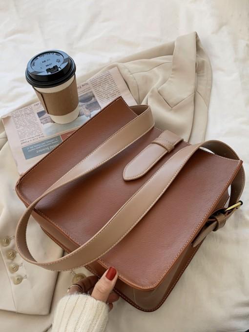Simple Style Solid Leather Shoulder Bag