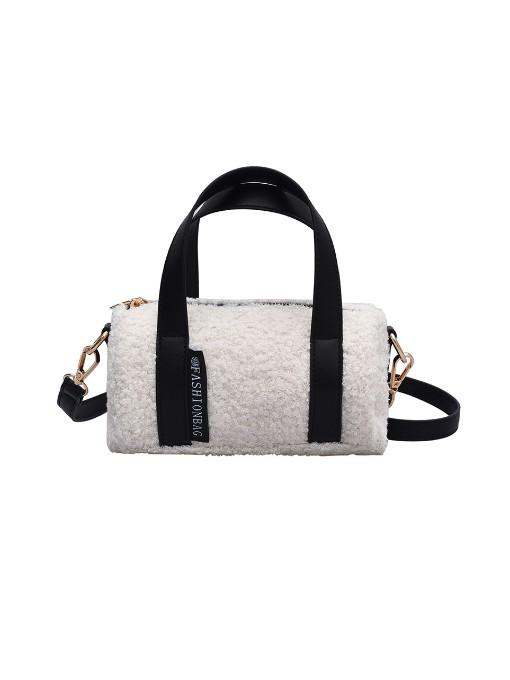 Zipper Fleece Crossbody Shoulder Bag With Handle