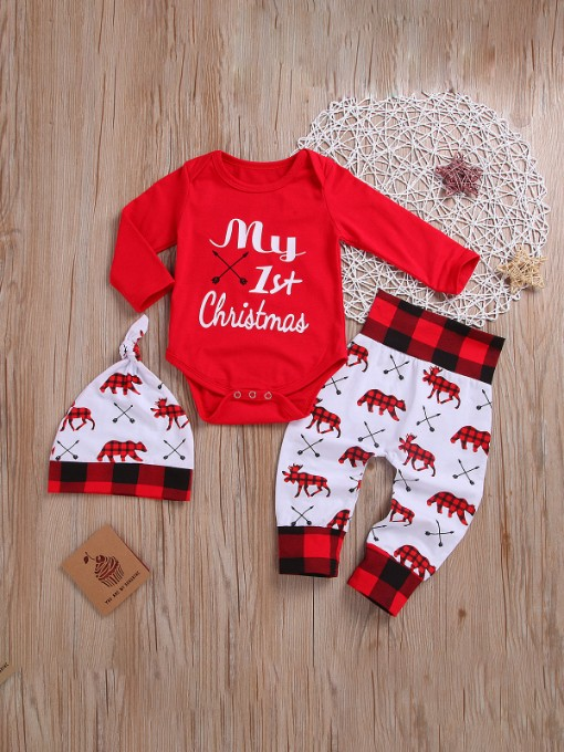 Christmas Letter Printed Deer Clothing Sets
