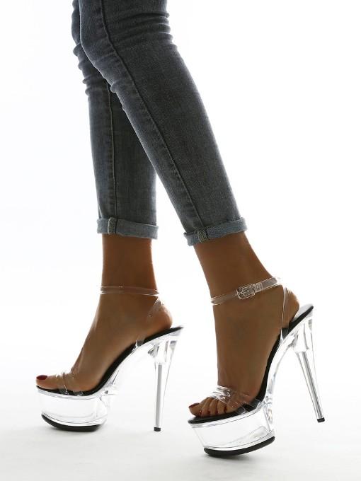 Stylish Clear Sole High Heel Platform Sandals