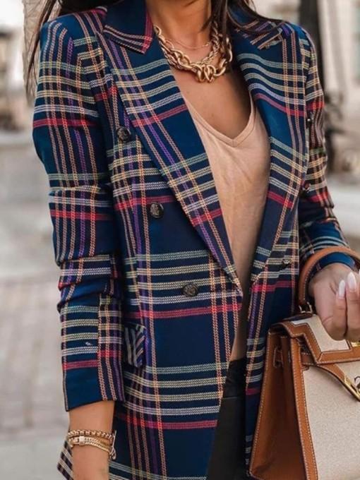 Long Sleeve Striped Notch Collar Blazer