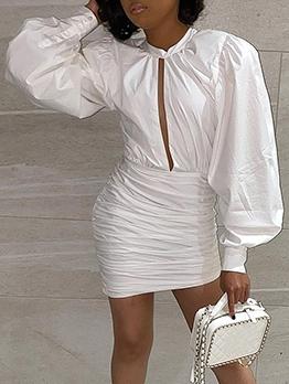 Euro Ruched Lantern Long Sleeve Bodycon Dress