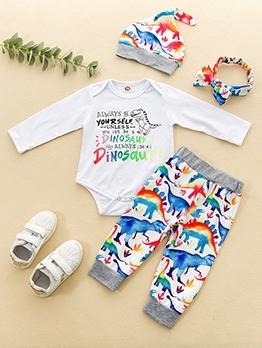 Cute Dinosaur Printed 4 Piece Clothing Sets