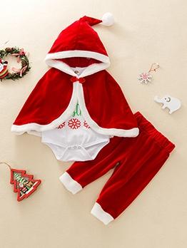 Christmas Cloak Hooded Baby Four Piece Set