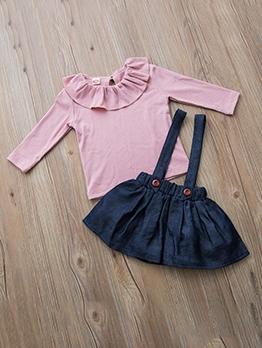 Solid Ruffled Denim Skirt Clothing Sets