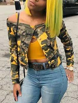 Fashion Off Shoulder Button Up Camo Jacket