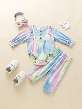 Fashion Tie Dye Bow Headwear Baby Sets