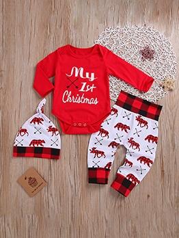Christmas Letter Printed Deer Clothing Sets