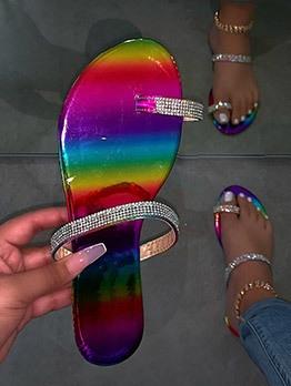 Colorful Rhinestone Round Toe Slides Slippers