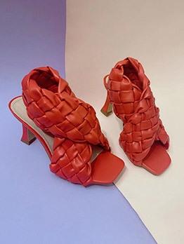 Stylish Woven Design Heeled Summer Sandals