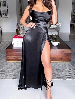Sexy Backless High Split Sleeveless Evening Dress