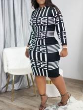 Long Sleeve Printing Black Curve Dress