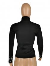 Rhinestone Design Black Turtleneck T-Shirt