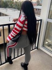Striped Crop Polo Shirt With High Waist Pencil Pants