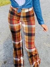 High Waist Plaid Bootcut Pants Casual