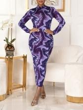 Mock Neck Printed Zipper Long Sleeve Maxi Dress