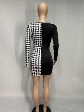 Contrast Color Printed Scoop Neck Long Sleeve Dress