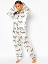 Animal Printed Long Sleeve Ladies Pajama Sets