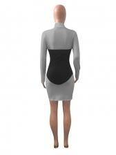 High Neck Contrast Color Long Sleeve Bodycon Dress