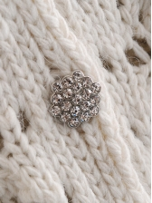 Rhinestone Button Hollow Out Cardigan Sweater