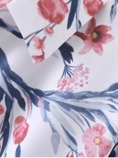 Turndown Neck Printed Long Sleeve Shirt Dress