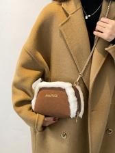 Fuzzy Trim Zipper Crossbody Shoulder Bag