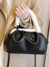 Lambswool Handle Draped Shoulder Bags For Women