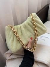 Pure Color Draped Fleece Armpits Bag