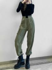 Streetwear Contrast Color Cargo Pants For Women