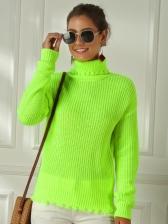 Fashion Fluorescence Color Turtleneck Sweater