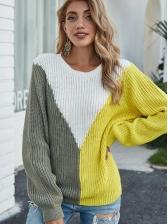 Casual Crew Neck Colorblock Sweater