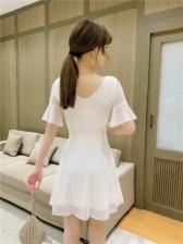 Trendy Pure Color Gauze Short Sleeve Dress